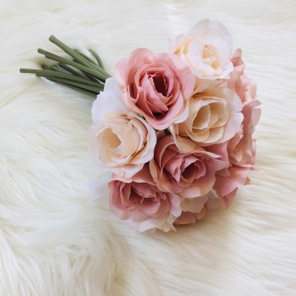 Ashland Faux Floral Bouquet Pink & Peach Roses